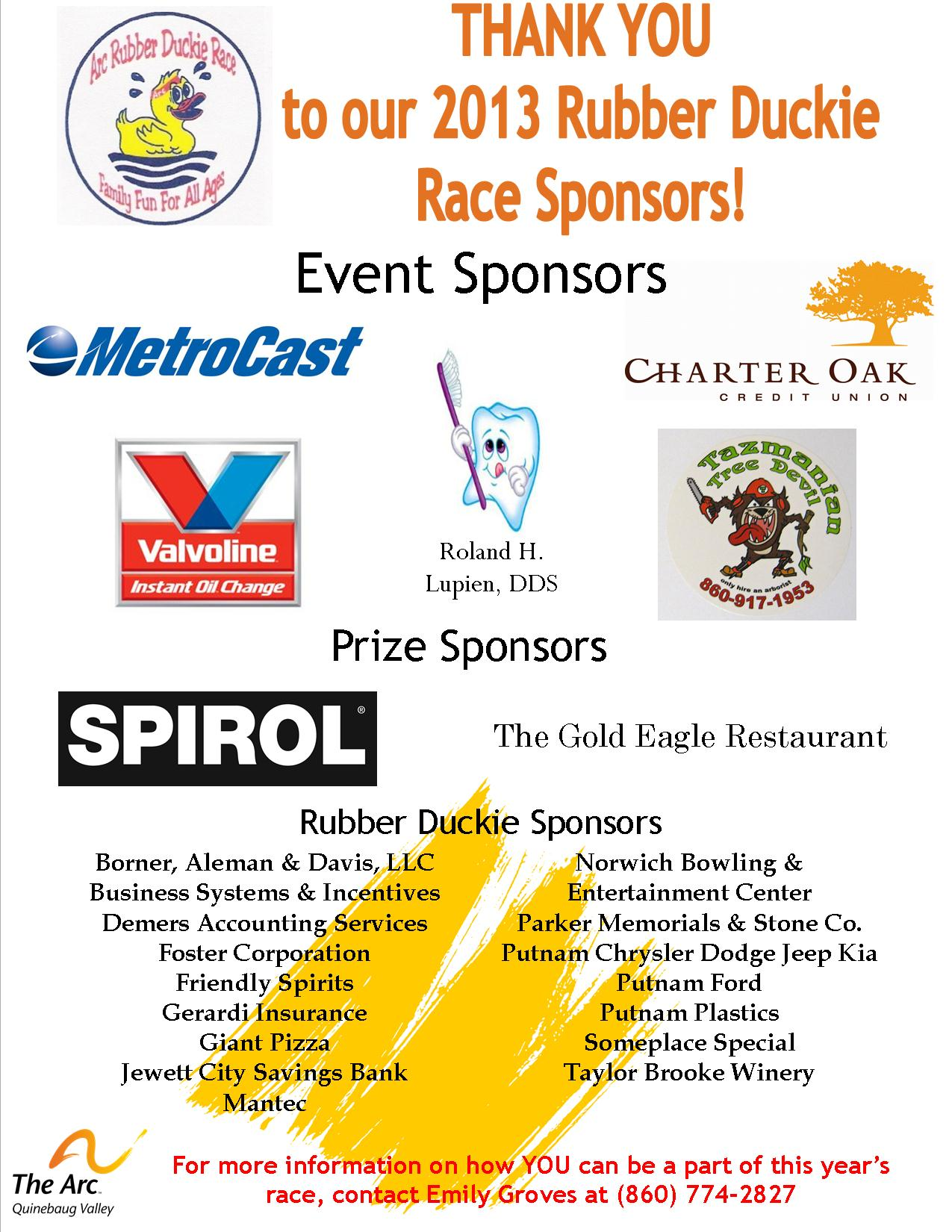 Thank you Duck Race sponsors 2013