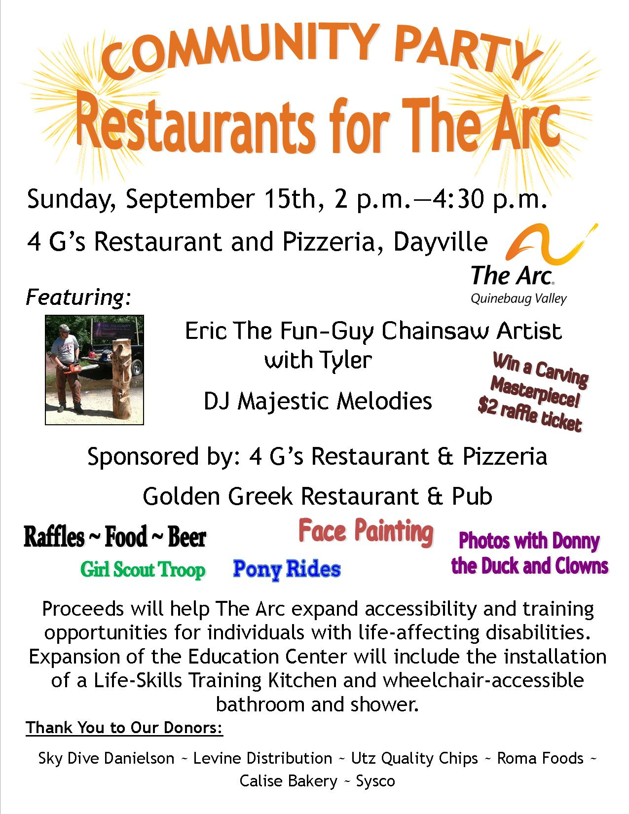 Community Party Restaurants for The Arc